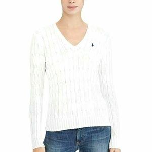 Lauren Ralph Lauren Cable Knit V Neck Sweater Sz L